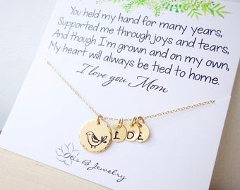 Mother of the Bride gift from daughter, personalized mothers necklace with mama bird charm, wedding gift for mom, Mothers day gift idea