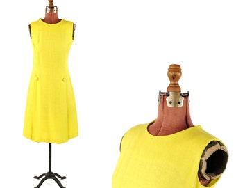 Vintage 1960's Bright Lemon Yellow Mod Linen Shift Scooter Summer Spring Dress M