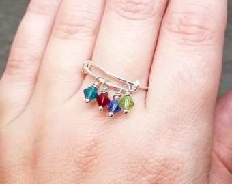 Custom Mothers Ring, Birthstone Ring for Mothers, Kids Birthstones Ring, Silver Birthstone Ring, Personalized Ring, Sterling Silver Ring