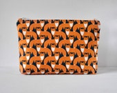 Woman's woodland fox animal print padded cosmetics novelty travel make up pouch in blue and orange XL extra large size.