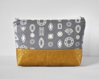 Gold glitter accent grey gem diamond outline print padded toiletry bag cosmetics travel make up pouch in gray in large.