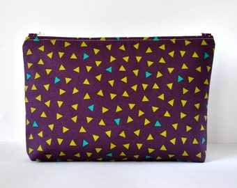 Woman's purple confetti triangle print padded beauty bag cosmetics travel make up pouch in aqua green and lime XL extra large size.
