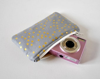 Metallic gadget padded camera mini cosmetics make up pouch polka dots print fabric in grey and gold.