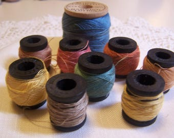 Vintage Collection of Belding Corticelli Darning or Mending Cotton Thread for Socks, Lot of 9 (small wood spools)
