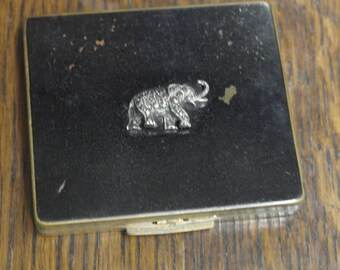 vintage brass with mrcasite elephant decoration stratton powder compact