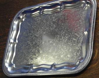 vintage chrome plate etched large rectanguler drinks serving tray