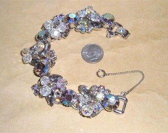 Vintage Juliana 5 Link Bracelet With Cut Crystals And Iridescent Rhinestones Prong Set 1960's Jewelry 2002