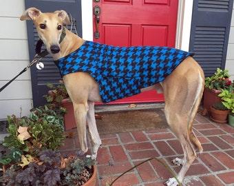 Greyhound Dog Coat & Jacket, XL Dog Coat, Cobalt Blue and Black Houndstooth Fleece with Black Fleece Lining