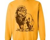 ON SALE On Sale Lion Professor Sweater Unisex Sweatshirt Fleece Pullover Sweatshirt Lion Sweatshirt Glasses Funny Gift Ideas Book Geek Sweat