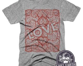 Hearts of Love T-Shirt Valentines Day Art Tri Blend Tshirt Mens Womens Love Shirt Gifts For Her Decorative Heart Shirt Love Tee Shirts