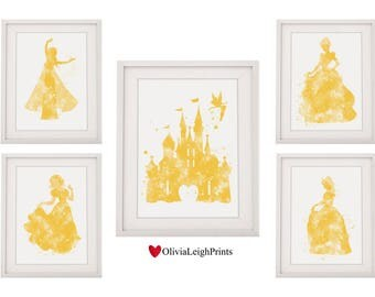 Set Of Five Disney Princess Prints Castle Belle Snow White Cinderella Elsa yellow
