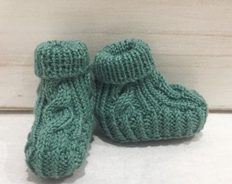 Hand knitted Cable Booties - Deco Green