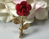 Vintage Red Rose Brooch with Gold Tone Leaves and Stem