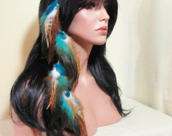 Feather Hair Extension Turquoise, Golden White, Browns