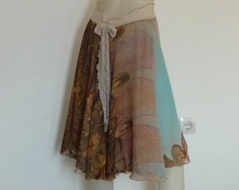 US 8 and 10  High End breath-taking 2 layer Chiffon Tango Skirt Circle   Milonga Dance Wear Chiffon  Print Jupe
