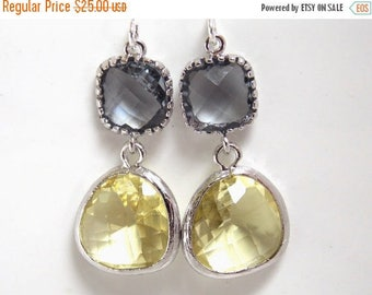 SALE Glass Earrings, Yellow Earrings, Gray Earrings Silver Grey, Citrine Earrings, Wedding Bridesmaid Earrings, Bridal Earrings, Bridesmaid