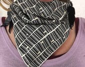 Black and White Triangles Bandana // Handkerchief // Dust Mask // Music Festival // Tribal
