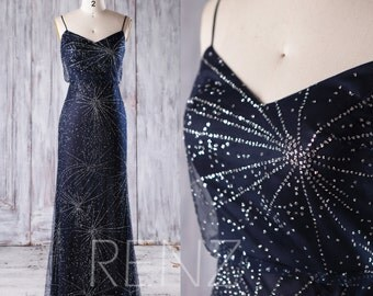 2017 Navy Bridesmaid Dress, Silver Sequin Wedding Dress, Spaghetti Straps Prom Dress, Long Maxi Dress, Evening Gown Floor Length (JQ186)