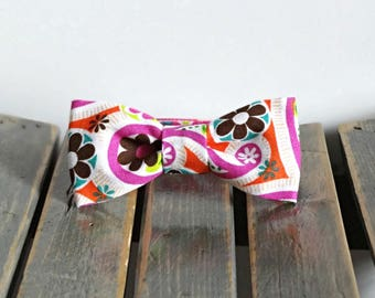 Pink Brown Orange Aqua Newborn Baby Bow Tie Photo Prop, Child Bow Tie with Velcro Closure, Any size, Made To Order