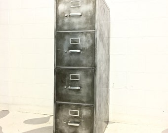 steel vintage industrial file cabinet metal brushed cabinet with four drawers made to order