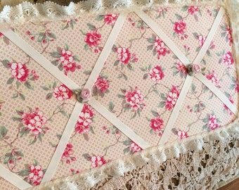 1 choice Shabby chic cloth memo board with a floral rose fabric and roses