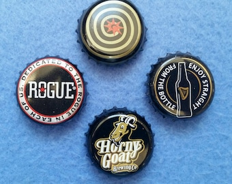 Upcycled Beer Bottle Cap Magnets set of four - Guinness, Rogue, Horny Goat, Magic Hat