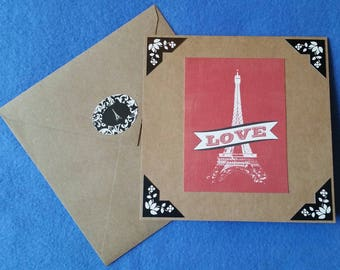 Handmade Love Card, Eiffel Tower - Recycled Kraft Paper Square Greeting Card, Blank Card