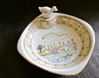 French Baby Dish - Food Warmer - Vintage French Porcelain - Warming Dish  - Sur le Pont d'Avignon MINT CONDITION