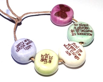 Ceramic Quote Bead Word Beads Set Handmade Affirmation Owl