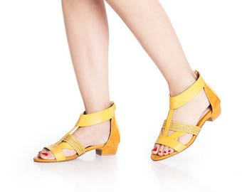 Yellow Non leather sandals / vegan open toe sandals / unique low heel shoes / beautiful comfortable shoes / high quality everyday sandals