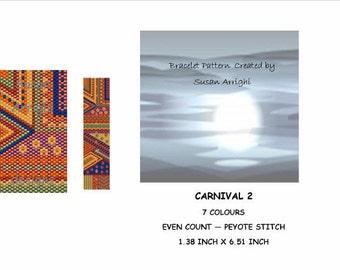 Peyote Stitch Beading Bracelet Pattern -  Carnival 2