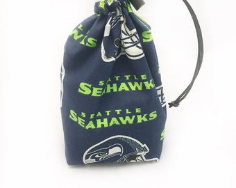 Seahawks, Dice Bag, Draw String Bag, Free Standing, Revisable, Gamer Bag, D&D Dice Bag, Makeup Bag, Small Gift Bag, Pouch, RTS