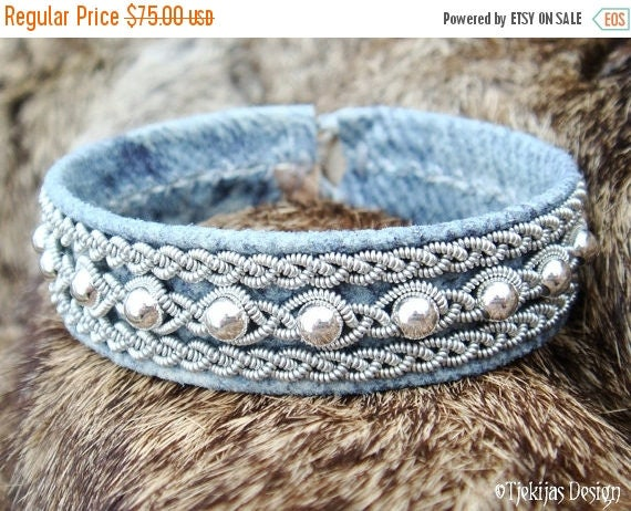 Denim Leather Swedish Lapland Bracelet Cuff YDUN Nordic Viking Jewelry with Sterling Silver Beads - Custom Handmade Tribal Elegance