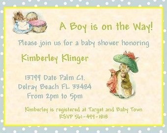 Beatrix Potter 8 boy shower invitation printed on laminated card stock with envelopes personalized.