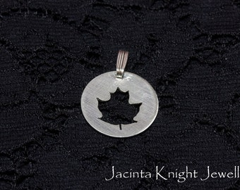 Sterling silver maple leaf pendant - 14mm, 16mm, 19mm or 22mm