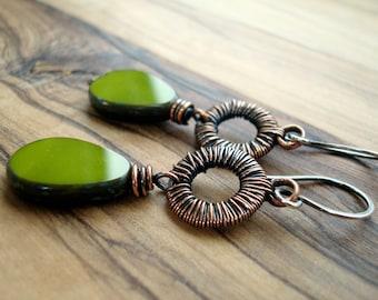 Boho Earrings - Green Earrings - Copper Earrings - Rustic Jewelry - Olive green earrings - Wire wrapped Earrings - Bohemian Jewellery
