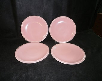 Vernon Kilns Plates Ultra California Carnation Pink Four 7-1/2 Inch Salad Plates