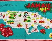 Vintage Jamaica Towel, Jamaica Map Souvenir, Kitchen Towel, Cotton Tea Towel, Caribbean Towel, Screen printed Turquoise Red, retro kitchen