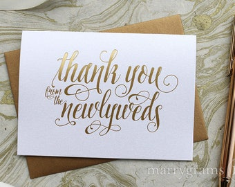 GOLD FOIL Wedding Thank You Cards from the Newlyweds Pretty Wedding Thank You Notes, Thank You's from Married Bride Groom Fancy Shimmer CS12