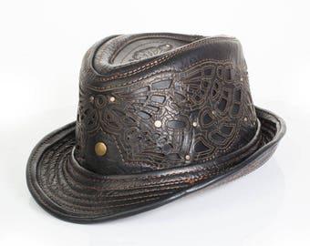 LIMITED ED. | Sassafras Fedora | Black Latigo Leather | Floral Embossed | Tarnished Brass or Silver Hardware | Trilby | Unisex | Burning Man