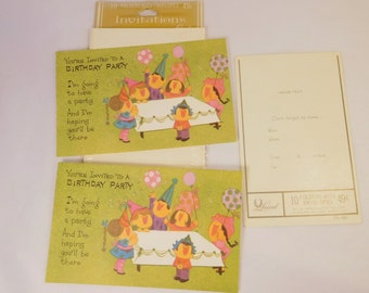 Vintage BIRTHDAY PARTY Invitations and Envelopes (2) TWO / Laurel Cards U.S.A.  / Boy or Girl