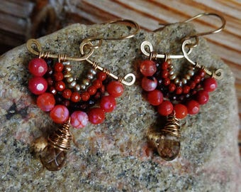 Crimson. Artisan Hammered Brass Drop Earrings with Wire Wrapped Gems-Red Jade, Rust Jasper, Red Tiger's Eye, Champagne Quartz, Gold Pearl