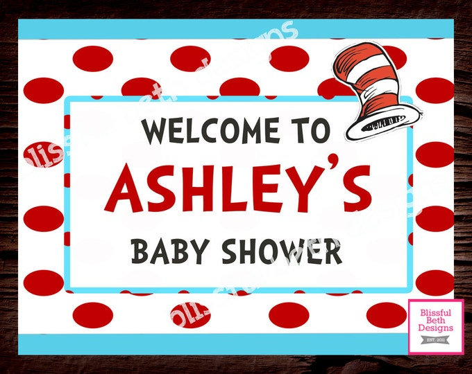SEUSS WELCOME SIGN Personalized Welcome Sign, Printable Seuss Welcome Sign, Seuss, Red/Aqua Personalized Seuss Welcome Sign, Shower Welcome