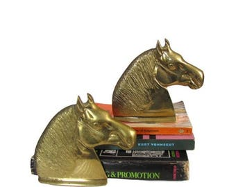 SALE Vintage 1960's Bookends l Brass Horse Head Bookends