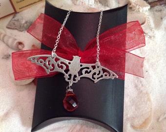 Sterling Silver Gemstone Bat Necklace