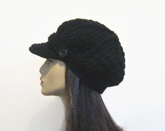 Black Newsboy Hat Crochet Newsboy Black knit Hat with Visor Black Newsboy Hat Crochet Visor Cap Black Cap with Visor and Button News Boy Hat