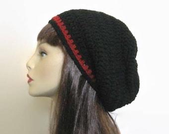 Black Slouchy Beanie Men's Crochet Beanie Unisex Black Beanie Slouchy Black Beanie Black Crochet Hat Black Slouch Beret Black Knit Beanie