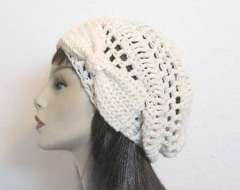 Cream Slouch Hat with Bow Cream Beanie with Bow Ivory Slouch Hat Off White Beanie Cream Slouchy Beret  with Bow Cream Crochet Cap