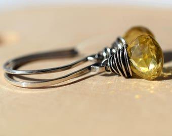 Yellow Gemstone Earrings on Sterling, Yellow Zircon Earrings, Oxidized Silver Earrings, Wire Wrapped Briolette Earrings, Natural Zircon