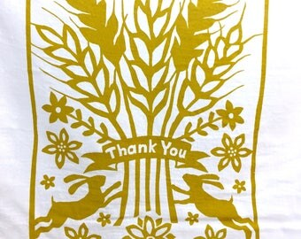 Flour Sack Dish Towel - Thank You, Gold or Sky Blue